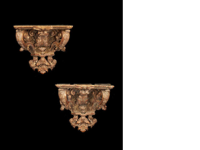 A matched pair of 18th/19th century giltwood wall brackets