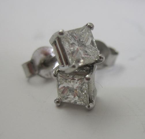 A pair of princess-cut diamond earstuds