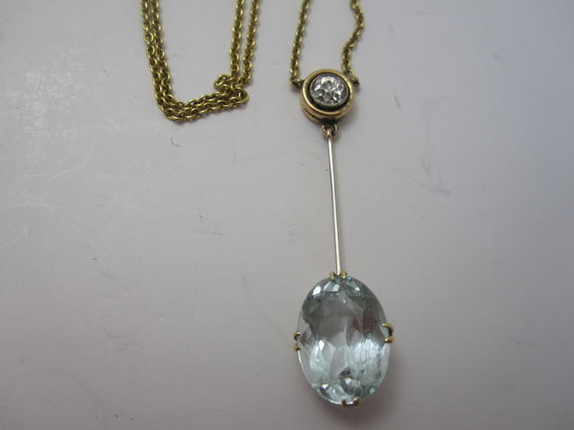 An Edwardian aquamarine and diamond pendant