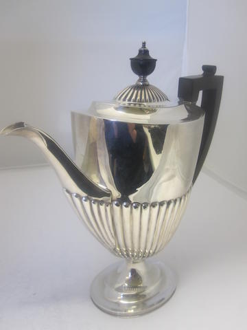 A silver coffee pot By Roberts & Belk, Sheffield 1919
