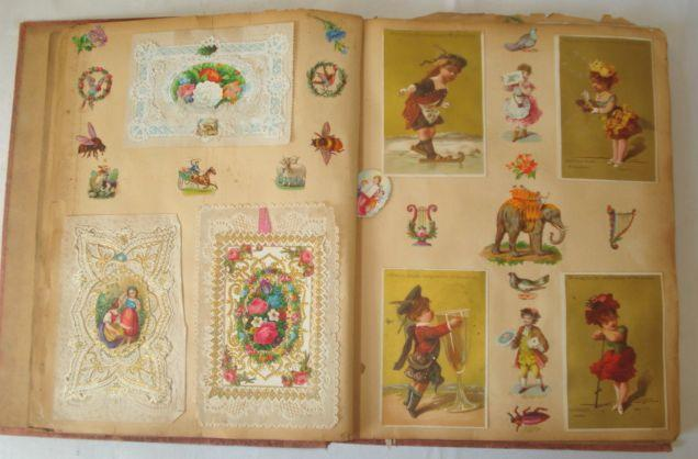 Two Victorian scrap books, variously filled with scraps, valentines, cut-outs, together with some loose scraps, two Punch year volumes 1935 and 1928, and a 1904 photography Xmas Number.