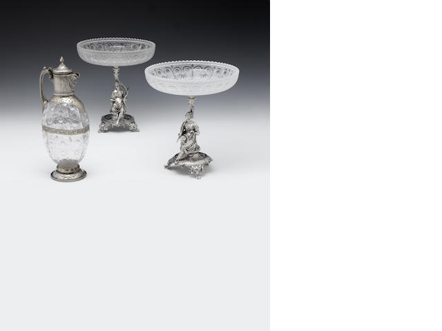 A Victorian pair of silver and glass mounted figural tazze By Elkington and Company, London 1880  (2)