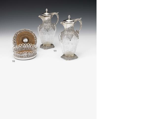A pair of George IV silver and fruit wood mounted bottle stands By John Edward Terry, London 1828