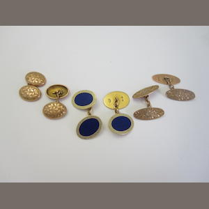 A pair of 18ct gold and enamel cufflinks, (3)