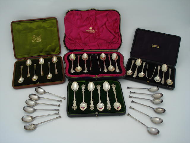 Four cased sets of 20th century silver spoons Various makers and dates