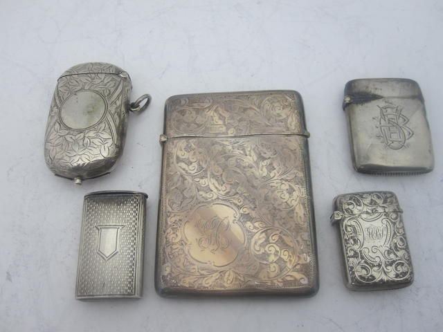 A small collection of silver vesta cases Various makers and dates