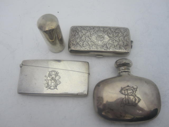A late Victorian silver scent flask Birmingham 1898