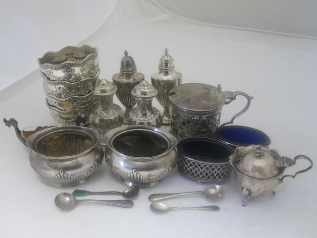 A collection of silver cruets Various makers and dates