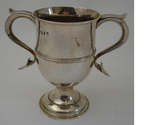 A George III silver twin handled cup Maker's mark rubbed, London 1784
