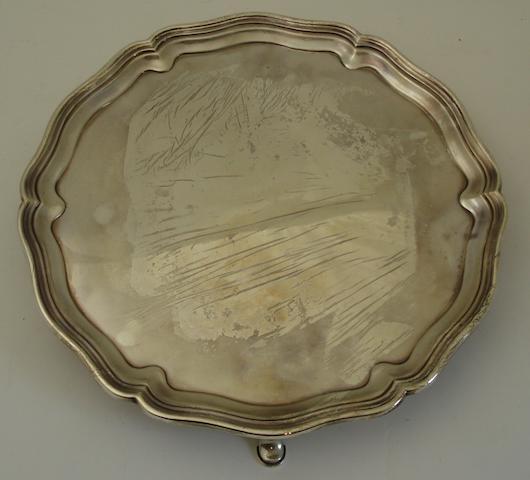 A silver salver By Hawksworth Eyre & Co Ltd., Sheffield 1931