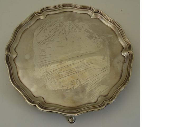 A silver salver By Hawksworth Eyre & Co Ltd., Sheffield 1931