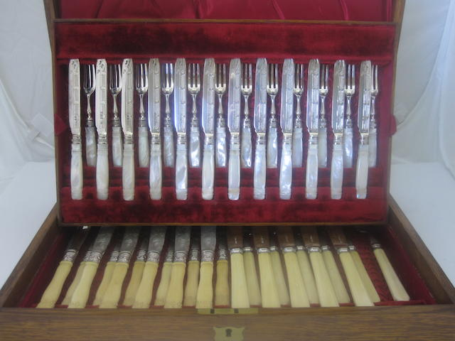 A cased collection of silver fruit eaters Various makers and dates