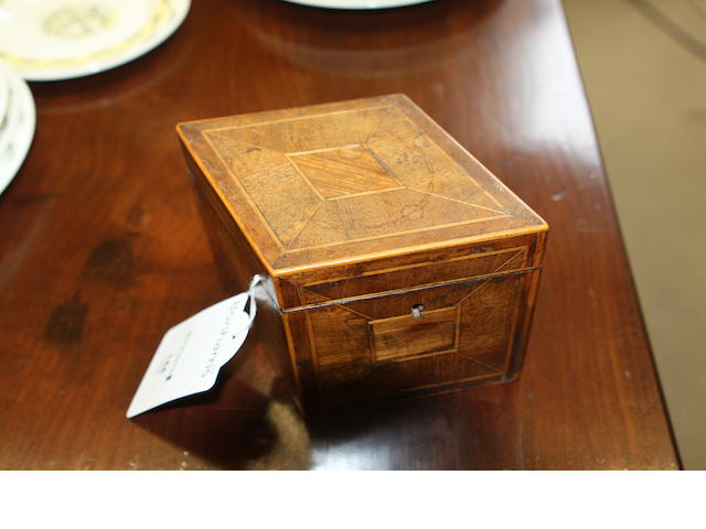 An 18th century mahogany tea caddy