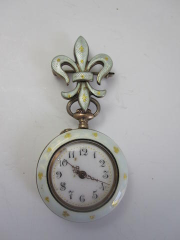 An early 20th century enamel fob watch, Swiss