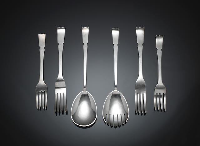 WILLIAM HENRY CRESWICK: A pair of silver salad servers, six table forks and five dessert forks Chester 1954, forks 1956  (13)