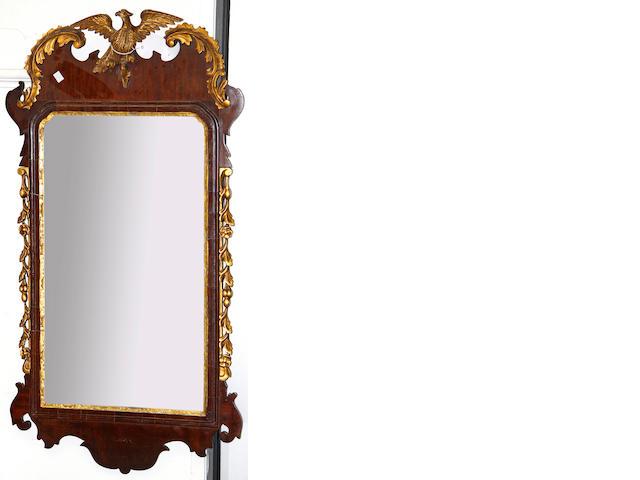 A George II style mahogany wall mirror,