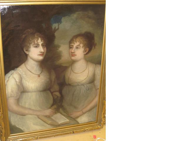 British School, (circa 1800-1820) Two sisters before a landscape, half length