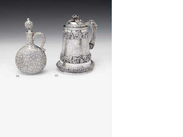 A mid-19th century Indian silver presentation mug and cover, By Pittar and Co, Calcutta circa 1847