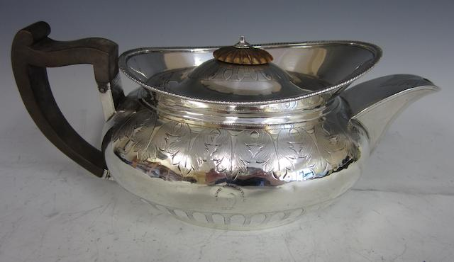 A George III silver oval tea pot,  by George Fenwick, Edinburgh 1807,