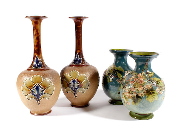 Two pairs of Doulton vases