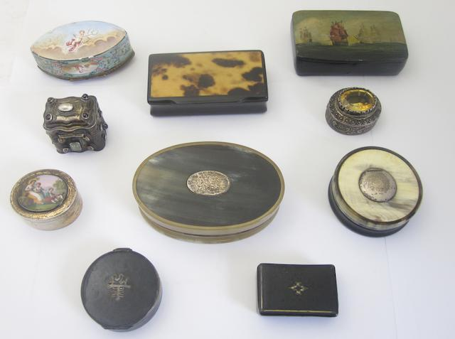 A collection of enamel, silver and horn boxes Various makers and dates   (Qty)