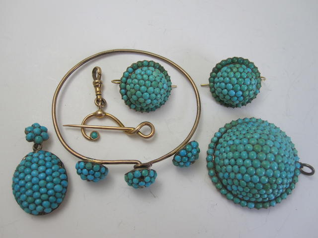 A collection of turquoise-set jewellery