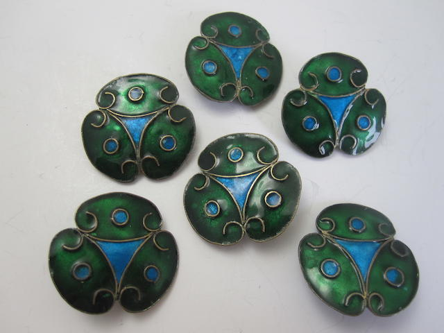 A set of six Art Nouveau enamel buttons,