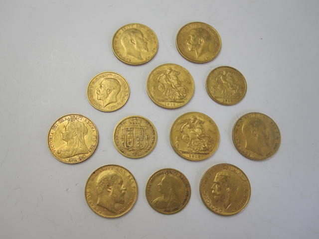 A collection of eight sovereigns and four half sovereigns