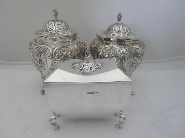 A matched pair of tea caddies