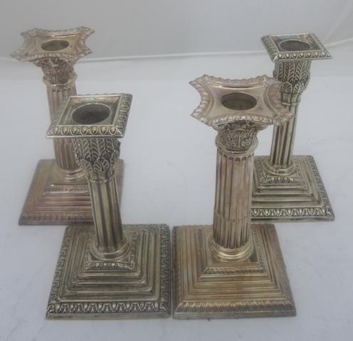 Two pairs of desk candlesticks  (loaded)