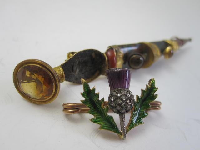 A Scottish brooch and kiltpin