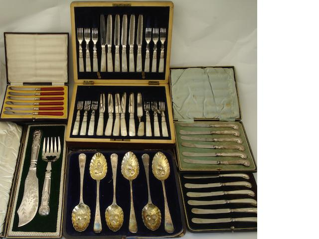 A Georgian set of six matched silver dessert spoons Various makers and dates