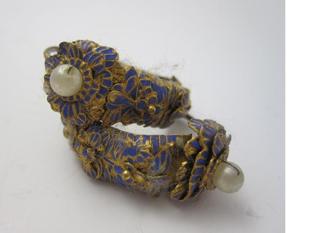 A pair of Georgian enamel and pearl earrings,