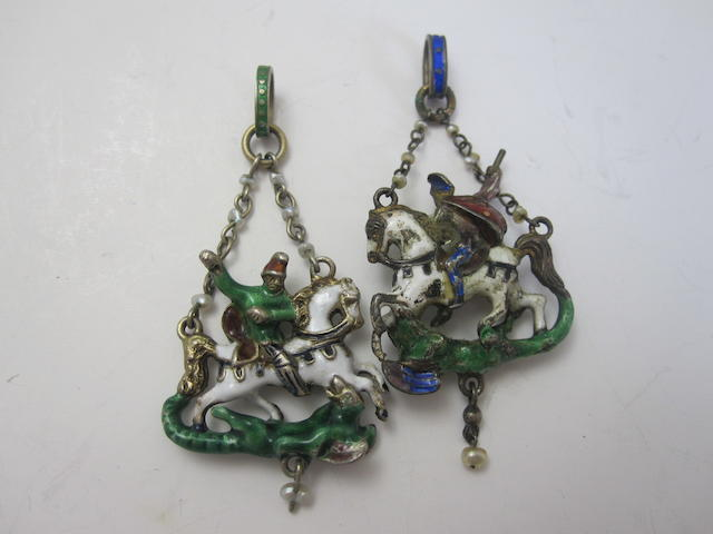 Two Victorian enamel 'St George and the Dragon' pendants, Austro-Hungarian