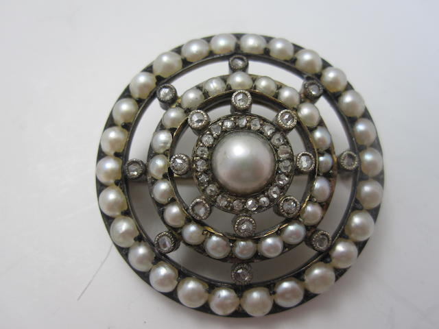 An early 20th century pearl and diamond brooch