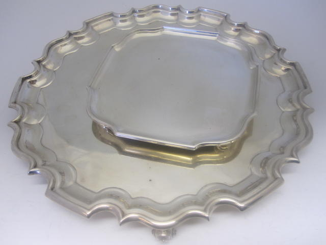 A silver salver By Walker & Hall, Sheffield 1918