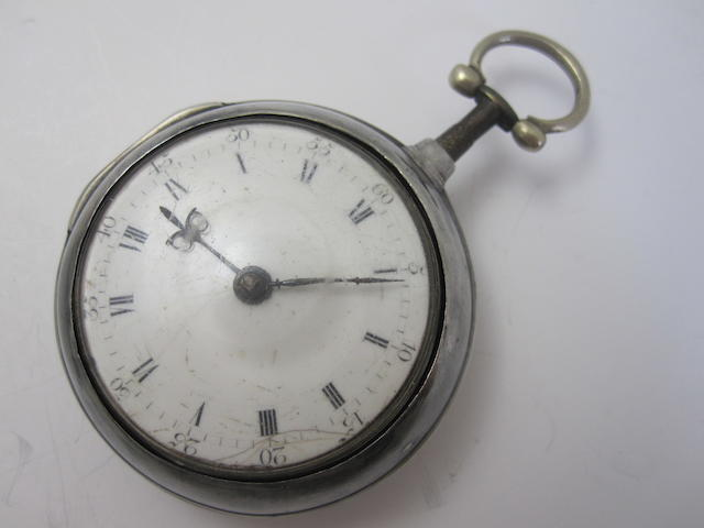 A silver pair cased verge pocket watch, by James Cunningham of Haddington,