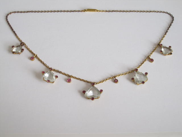 An early 20th century aquamarine and ruby fringe necklace