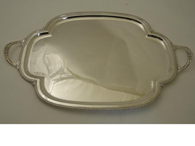 A twin handled silver drinks tray Possibly by Smith & Rait, Glasgow 1901