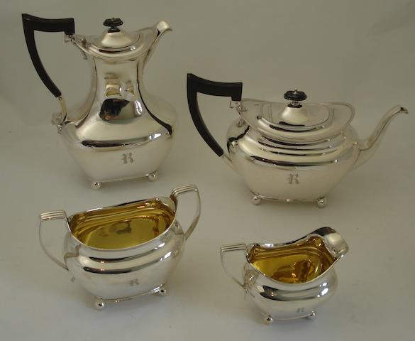 A four piece silver tea service By J.Dixon & Sons, Sheffield 1917