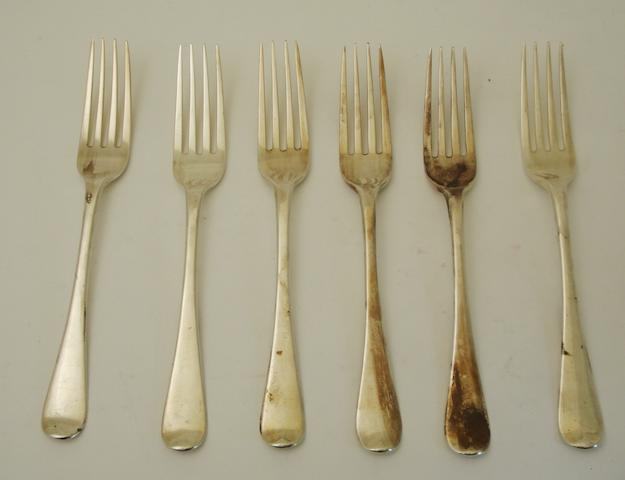 A set of six George III silver dinner forks  By Eley & Fearn, London 1804