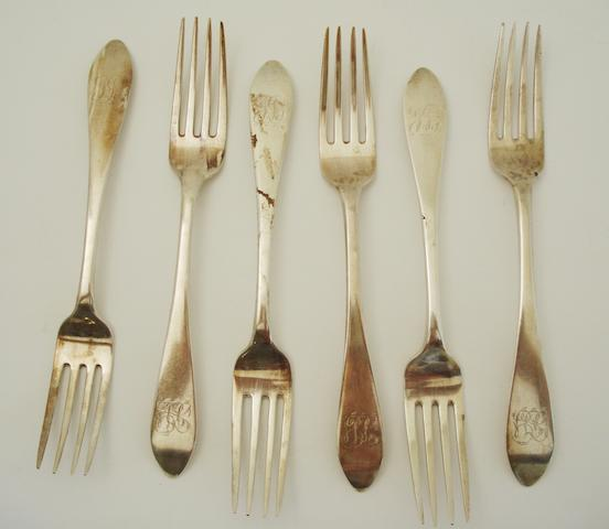A set of six George III dinner forks By John Mackay, Edinburgh 1809