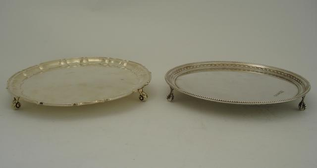 Two small silver salvers  (2)