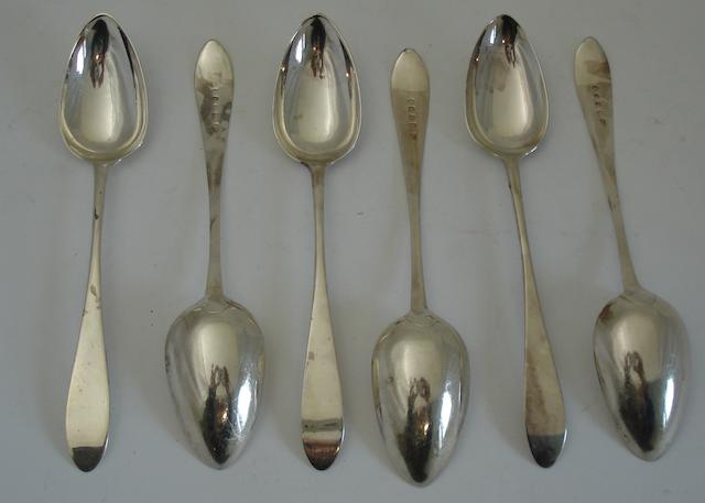 A set of six George III silver dessert spoons By Alexander Gairdner, Edinburgh 1793  (erased)