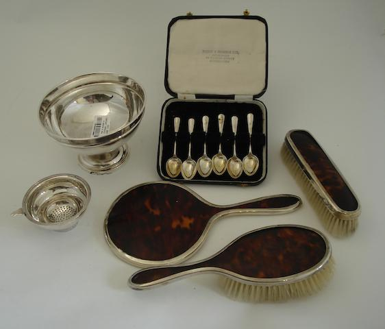 A collection of silver Various makers and dates  (spout lacking)
