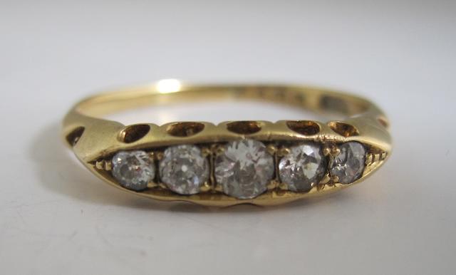 A diamond five-stone ring,