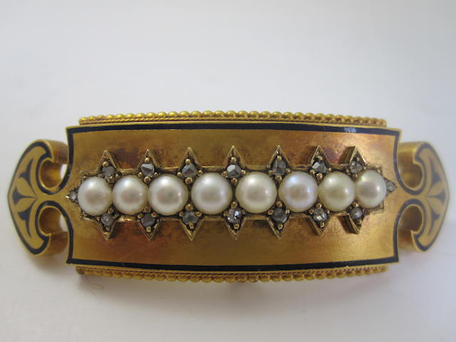 A late 19th century pearl and diamond swallow brooch