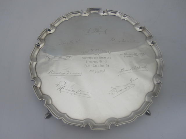 A silver salver By Boodle & Dunthorpe, London 1937