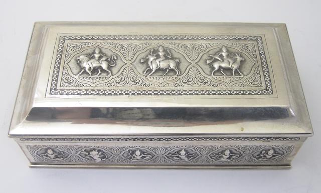 An Indian cigarette box Stamped Bombay, Calcutta, Silver