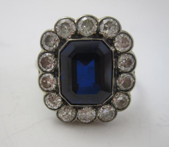 An early 20th century synthetic sapphire and diamond cluster ring